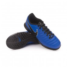 Football Boot Kids Tiempo LegendX VII Academy Turf Racer blue-Black-Metallic silver