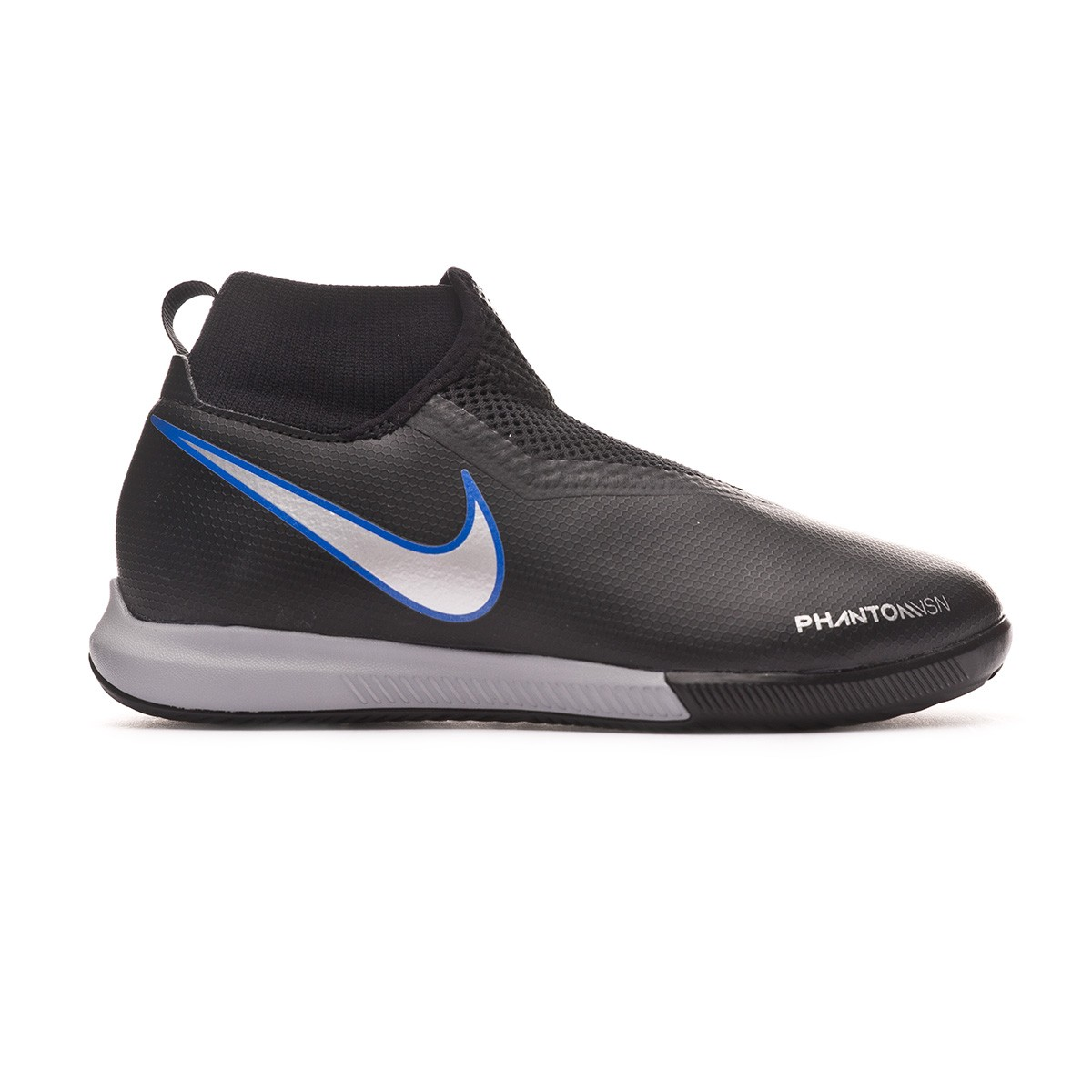 9eea625828b Futsal Boot Nike Phantom Vision Academy DF IC Niño Black-Metallic silver-Racer  blue - Football store Fútbol Emotion