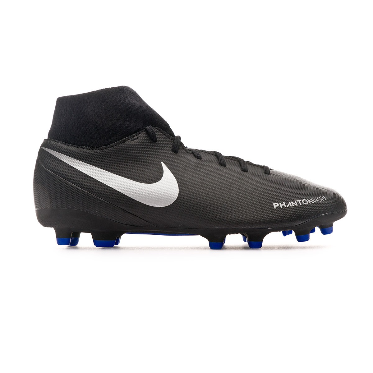 47f61a6fb771c Football Boots Nike Phantom Vision Club DF FG MG Black-Metallic  silver-Racer blue - Tienda de fútbol Fútbol Emotion