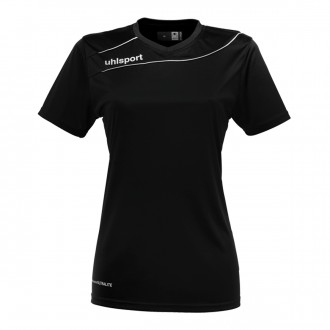 Camisola  Uhlsport Stream 3.0 Mujer m/c Preto-Branco