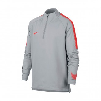 Sweatshirt  Nike Dry Squad Niño Wolf grey-Light crimson