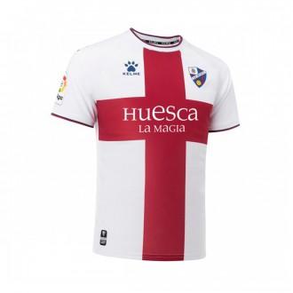 Camisola  Kelme SD Huesca Segunda Equipación 2018-2019 Branco-Grená