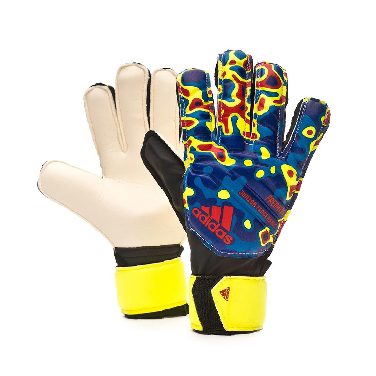 low priced 192b9 ec758 Glove adidas Predator Junior Fingensave MN Niño Solar yellow-Football blue-Active  red - Tienda de fútbol Fútbol Emotion