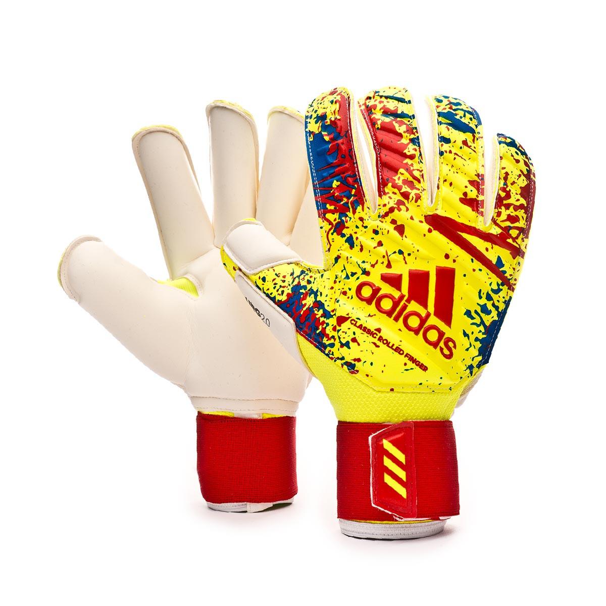 Resbaladizo Vástago Manto  Glove adidas Classic Pro GC Solar yellow-Active red-Football blue -  Football store Fútbol Emotion