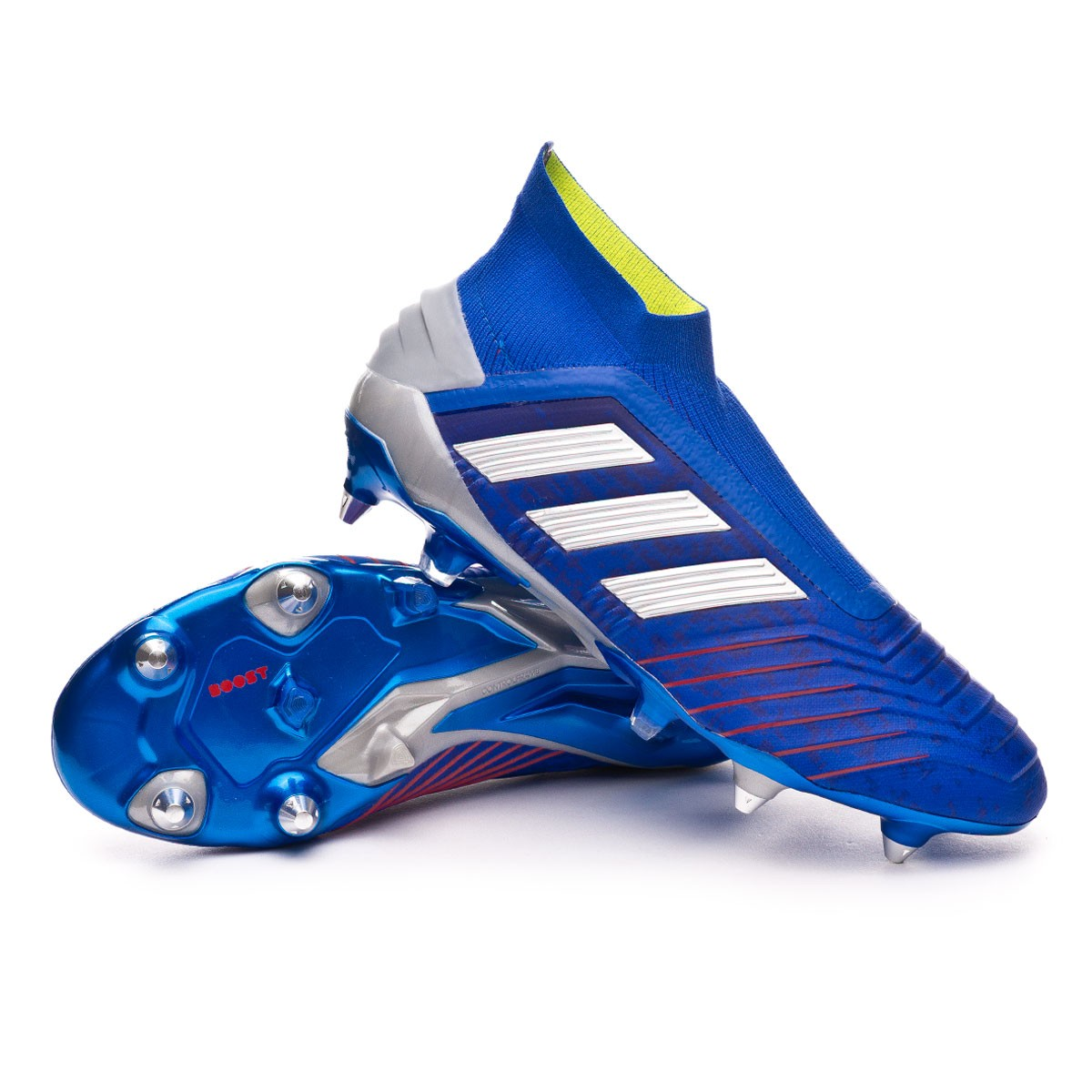 Chaussure De Foot Adidas Predator 19 Sg Bold Blue Silver Metallic Active Red Boutique De Football Futbol Emotion