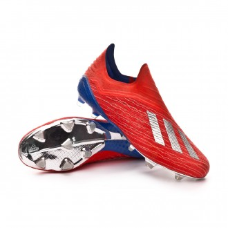 Chuteira  adidas X 18+ FG Active red-Silver metallic-Bold blue