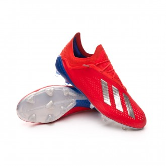 Chuteira  adidas X 18.1 FG Active red-Silver metallic-Bold blue