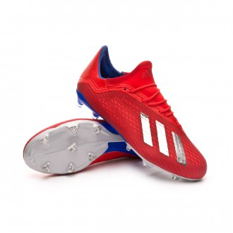 Boot  adidas X 18.2 FG Active red-Silver metallic-Bold blue