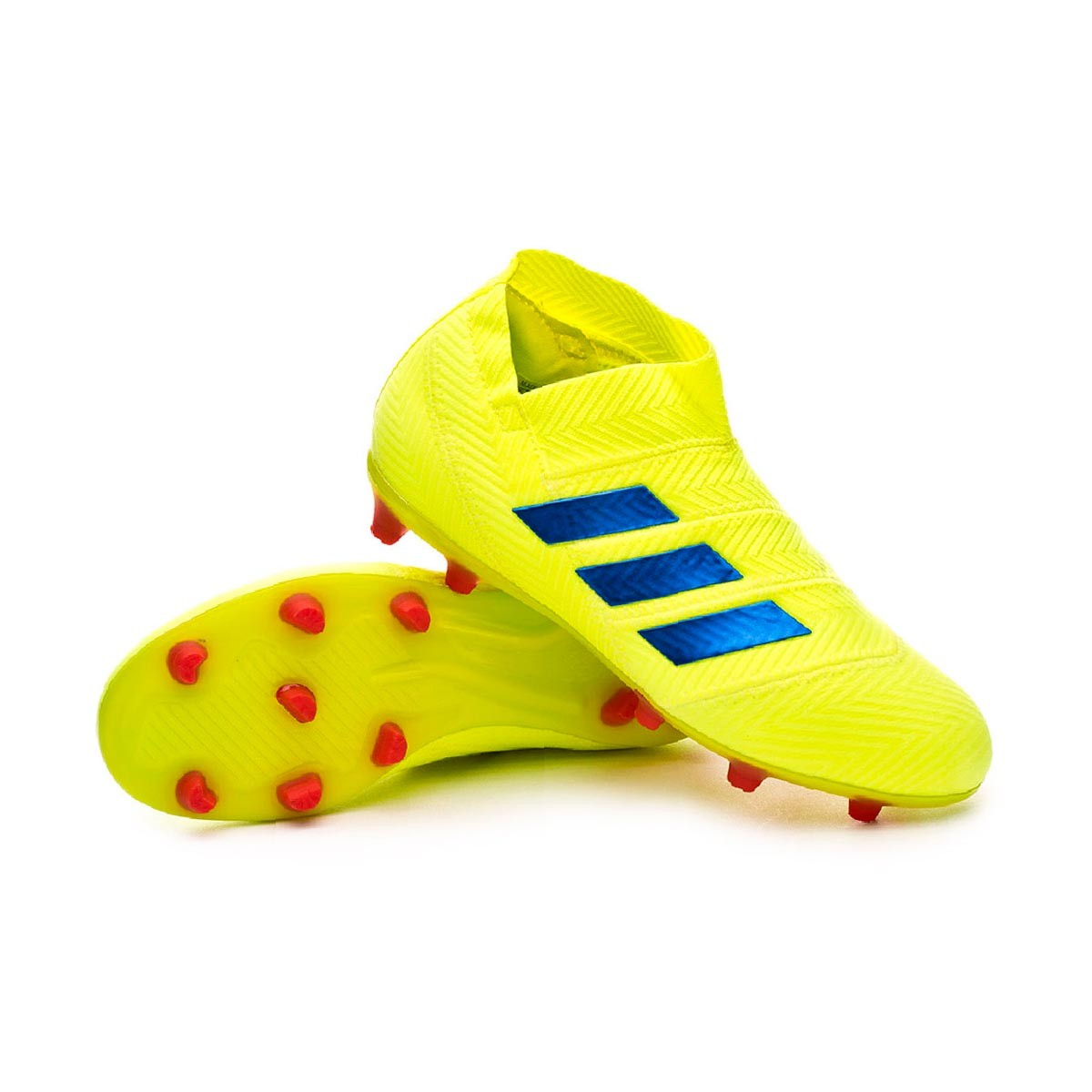 9b4d80309cce9f Boot adidas Nemeziz 18+ FG Niño Solar yellow-Football blue-Active red -  Football store Fútbol Emotion