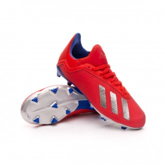 Boot  adidas X 18.3 FG Niño Active red-Silver metallic-Bold blue