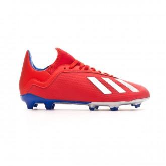 Chuteira adidas X 18.3 FG Crianças Active red-Silver metallic-Bold blue