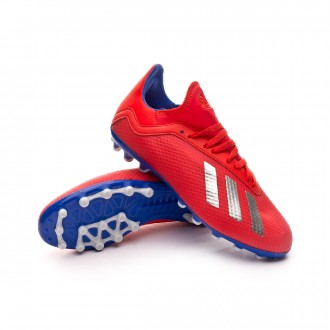 Football Boots  adidas Kids X 18.3 AG Active red-Silver metallic-Bold blue