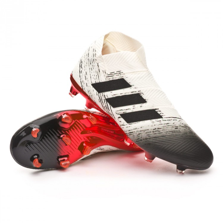 61948b7a68a Chuteira adidas Nemeziz 18+ FG Off white-Core black-Active red ...