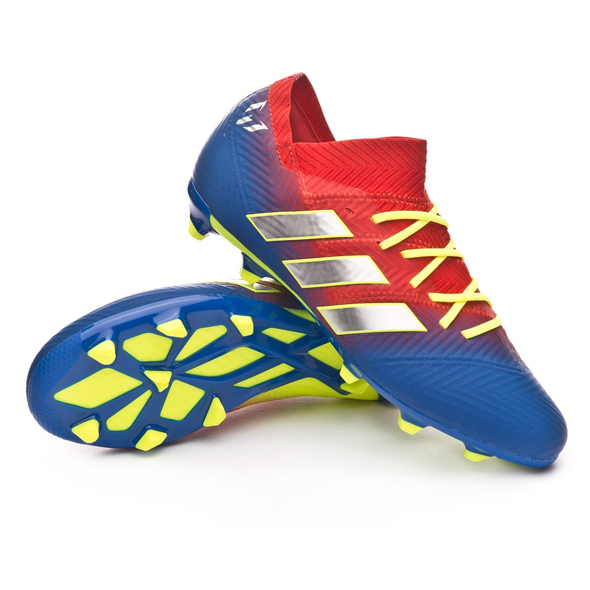 9ad3dd991 adidas Kids Nemeziz Messi 18.1 FG Football Boots. Active red-Silver  metallic-Football blue ...