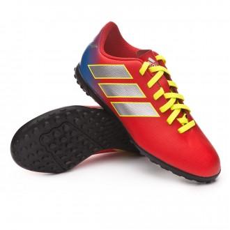 Zapatilla  adidas Nemeziz Messi Tango 18.4 Turf Niño Active red-Silberfoil-Football blue