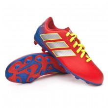 2a538ac5add24 Chuteira Nemeziz Messi 18.4 FxG Crianças Active red-Silver  metallic-Football blue