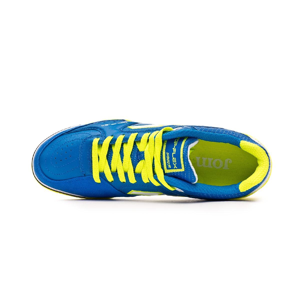 89803a4eaf3 Futsal Boot Joma Top Flex Blue-Lime - Tienda de fútbol Fútbol Emotion