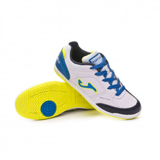 Chaussure de futsal  Joma Top Flex Niño White-Blue-Lime
