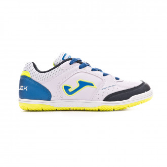Futsal Boot  Joma Top Flex Niño White-Blue-Lime