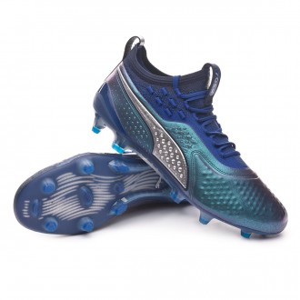 Boot  Puma Puma One 1 Leather FG/AG Puma White-Silver-Sodalite Blue