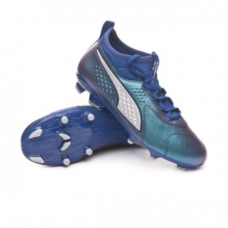 Boot  Puma Kids Puma One 3 Leather FG Sodalite Blue-Vibrant Yellow