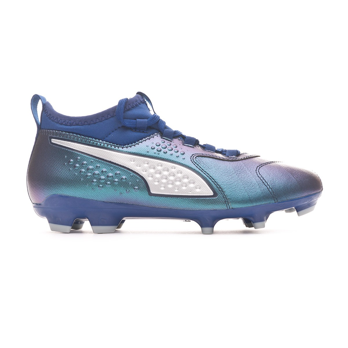 0d159b54d29 Football Boots Puma Kids Puma One 3 Leather FG Sodalite Blue-Vibrant Yellow  - Football store Fútbol Emotion