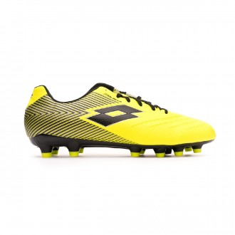 Zapatos de fútbol Lotto Solista 700 II FG Safety yellow-All Black-Silver metal
