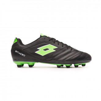 Chaussure de foot Lotto Stadio 300 II FG All black-Spring green