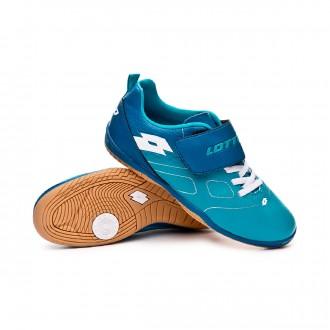 Chaussure de futsal  Lotto Maestro 700 ID CL S Niño Bluebird-All white-Gem blue