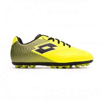 Zapatos de fútbol Lotto Solista 700 II AGM Niño Safety yellow-All Black-Silver metal