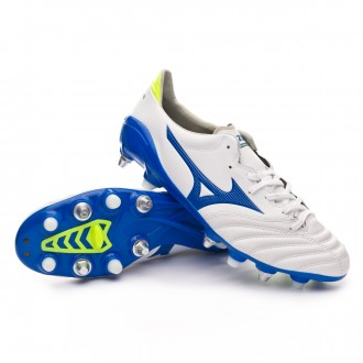 Chuteira  Mizuno Morelia Neo II MIX White-Wave cup blue-Safety yellow