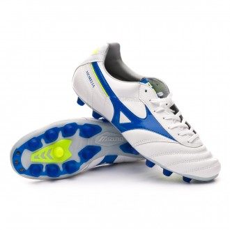 Chuteira  Mizuno Morelia II MD White-Wave cup blue-Safety yellow