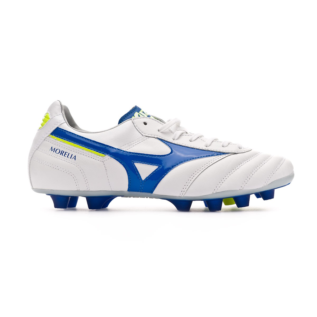 311445737663 Football Boots Mizuno Morelia II MD White-Wave cup blue-Safety yellow - Football  store Fútbol Emotion