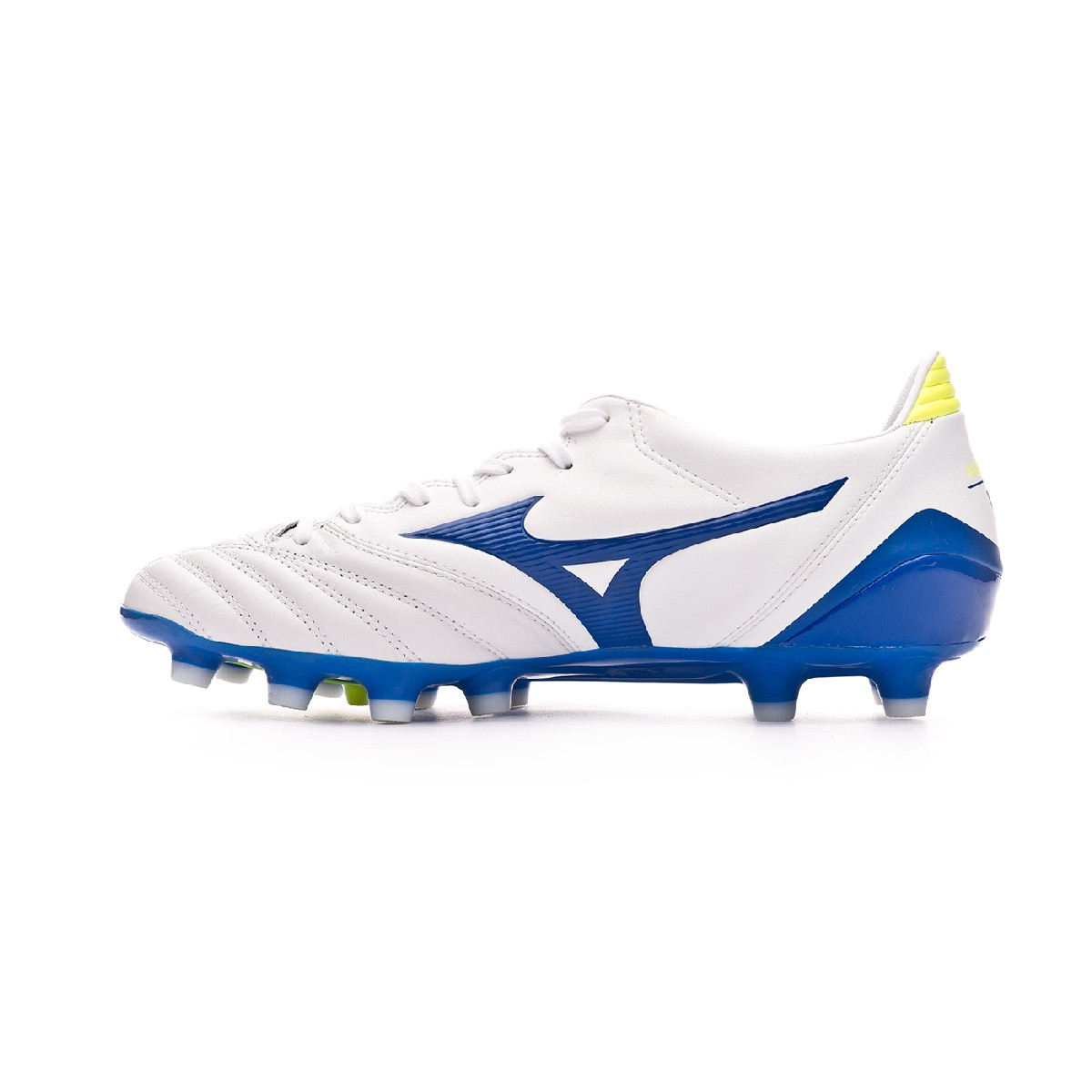 881c37bb4cab Football Boots Mizuno Morelia Neo KL II White-Wave cup blue-Safety yellow -  Football store Fútbol Emotion
