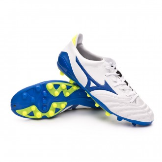 Chuteira  Mizuno Morelia Neo KL II AG White-Wave cup blue-Safety yellow