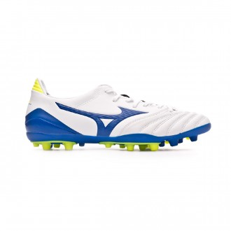 Chaussure de foot Mizuno Morelia Neo KL II AG White-Wave cup blue-Safety yellow