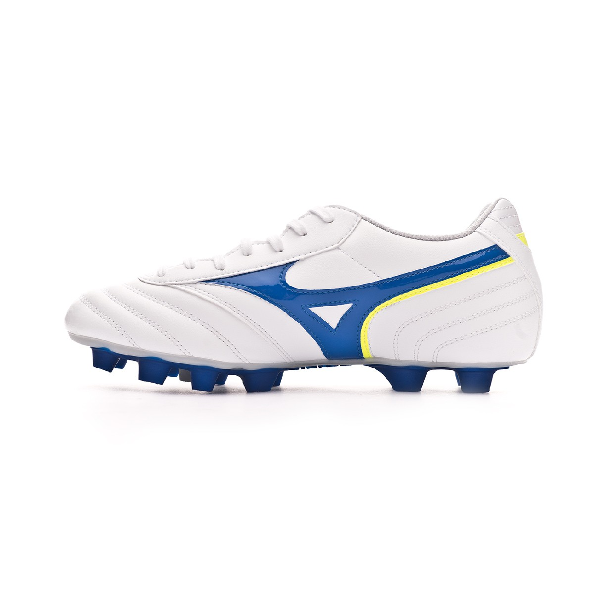 75872cc8c36a3 Chuteira Mizuno MRL Club MD White-Wave cup blue-Safety yellow - Loja de  futebol Fútbol Emotion
