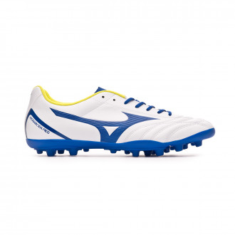 Chaussure de foot Mizuno Monarcida Neo Select AG White-Mazzarine blue-Safety yellow