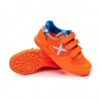 Sapatilha de Futsal  Munich G3 Velcro Crianças Naranja flúor-Prata