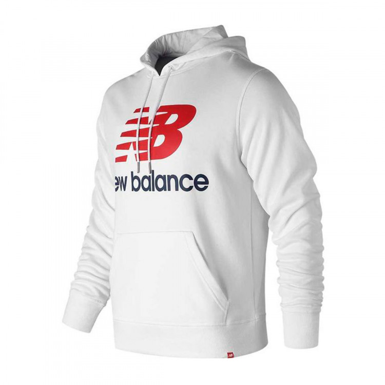 Estados Unidos amplia selección de colores diseño distintivo Sweatshirt New Balance con Capucha Essentials Stacked Logo White ...