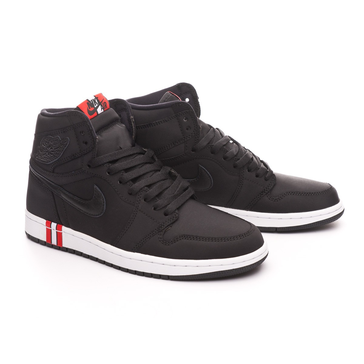 Nike Air Jordan 1 Retro Hi OG Jordan x PSG Trainers. Black-Challenge red- White ... 9dba86c18