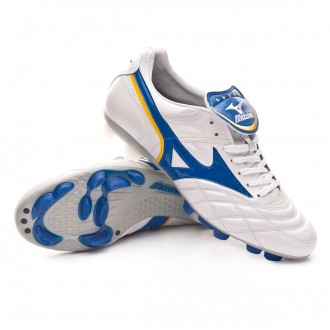 Chuteira  Mizuno Wave Cup Legend Rivaldo White-Wave cup blue-Cyber yellow