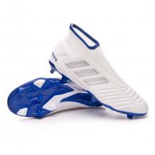 Bota Predator 19.3 FG LaceLess White-Silver metallic-Bold blue