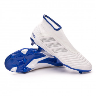 Football Boots  adidas Predator 19.3 FG LaceLess White-Silver metallic-Bold blue