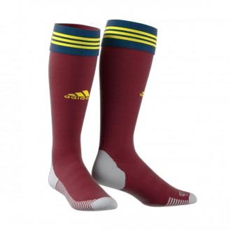 Football Socks  adidas Adisock 18 Collegiate burgundy-Bright yellow-Legend mari