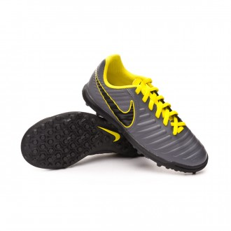Football Boot  Nike Kids Tiempo LegendX VII Club Turf  Dark grey-Black-Optical yellow
