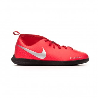 Futsal Boot  Nike Phantom Vision Club DF IC Niño Bright crimson-Metallic silver
