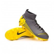 Football Boots Kids Mercurial Superfly VI Club MG  Dark grey-Black-Optical yellow