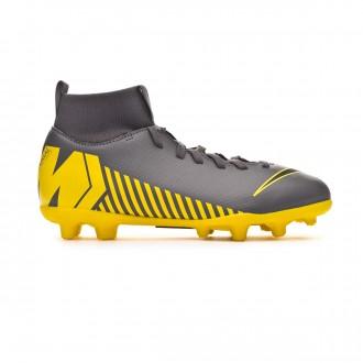 Chuteira Nike Mercurial Superfly VI Club MG Crianças Dark grey-Black-Optical yellow
