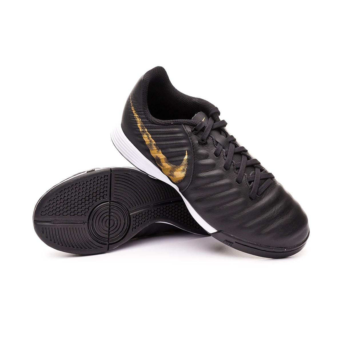 79e9810e652 Futsal Boot Nike Tiempo LegendX VII Academy IC Niño Black-Metallic ...
